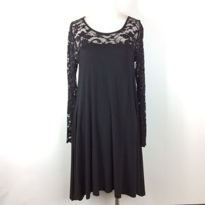 Nina Leonard Black Lace Sleeve Dress Size M